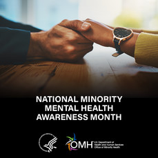Two people holding hands in support, National Minority Mental Health Awareness Month