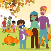 Illustration shows families at a pumpkin patch