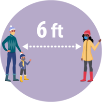 Image shows a man and child and a woman standing 6 ft apart