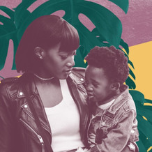 Image shows a young Black mother with her toddler
