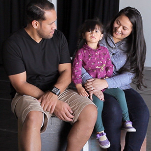 Image shows a Pacific Islander father, mother and daughter