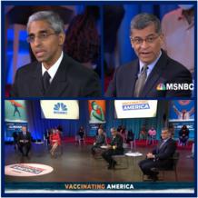 Screen-capture shows Surgeon General Murthy, Secretary Becerra, Dr. Fauci, and MSNBC moderators