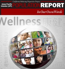 Cover detail for the In Our Own Words report on AAPI health