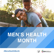 Men's Health Month. HHS OMH. Image shows a Black father with his son