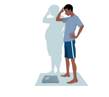 Illustration shows a young Black man at a scale, worried about his weight