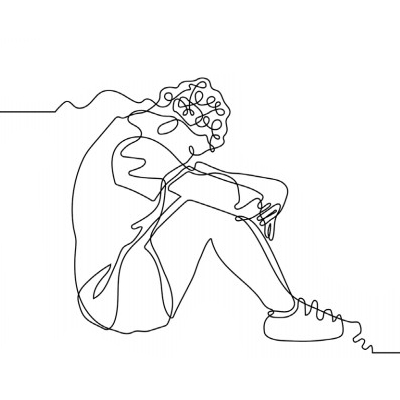 Illustration shows a young man sitting in thought