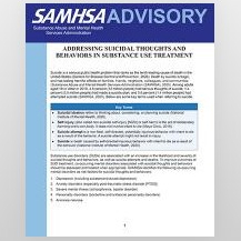 Detail of page 1 of the SAMHSA Advisory
