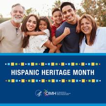 Hispanic Heritage Month. HHS OMH. Image shows a Hispanic/Latino family.