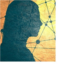 woman's silhouette on yellow/orange background with lines and circles