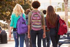 Group of women students walking