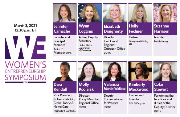 March 3 2021 Women's Entrepreneurship Symposium and headshots of panelists
