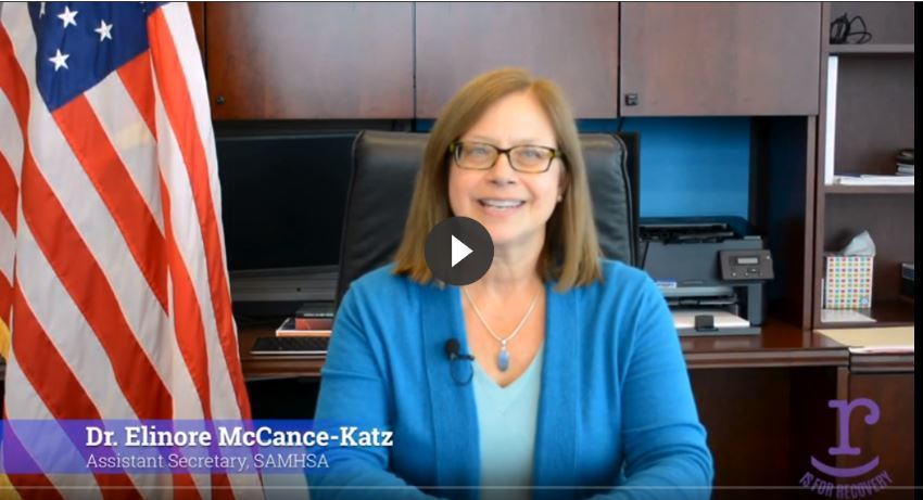 Screenshot of video with Assistant Secretary for Mental Health and Substance Use, Dr. Elinore F. McCance-Katz, MD, PhD