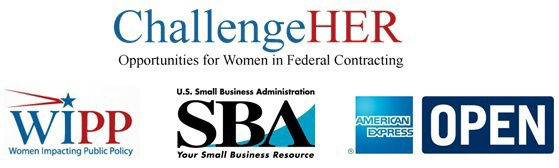 Logos for ChallengeHer, Women in Public Policy, Small Business Administration, American Express Open