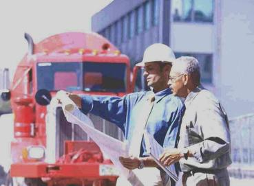 Two Contractors Reading Blueprint