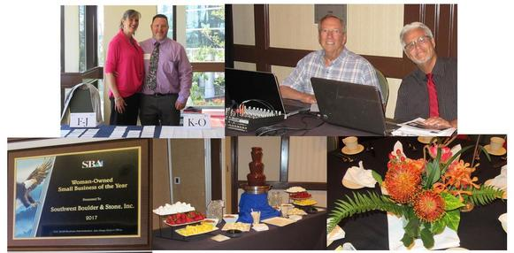 Photo Collage of Event - Cheryl and Ray Brown; Bill Gruber and Caz Taylor; Award Plaque; Chocolate Fountain and Floral Arrangement