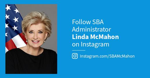 Follow SBA Administrator Linda McMahon on Instagram
