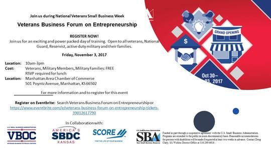 Veterans Entrepreneurship Forum flyer