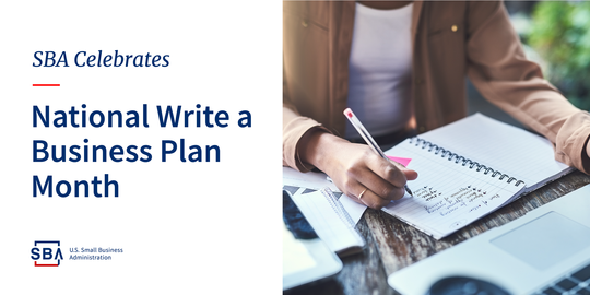 National Write a Business Plan Month graphic