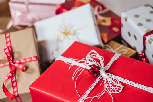 Holiday gift-wrapped packages