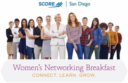 Image: Graphic header for Women's Networking Breakfast - Connect. Learn. Grow.