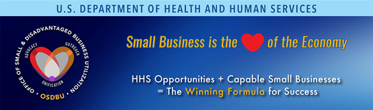 "Image: Graphic header for the HHS OSDBU ""Getting Back 2 Business"" Small Business Outreach Event"