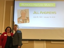 Photo: Cynthia Harris, and Liz Lemesevski with Jill Andrews photo on screen in background