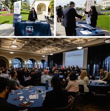 Photo collage at San Diego Angel Conference - Jamye Pritchett Solorzano at SBA exhibit, Jamye assisting client, event audience