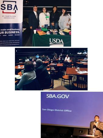 Photo Collage for Ramona SBA Day: Ruben Garcia, Desiree Garza, Rosalinda Si8ngh, and Jamye Pritchett Solorzano; Audience; Ken Luis