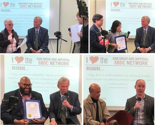 Photo Collage for No. S.D. SBDC Day - Fernanda Carpraro, Tom Stinson, Lynn Pittman Min Vu, War War Win, Marquise Jackson and Matthew Phy