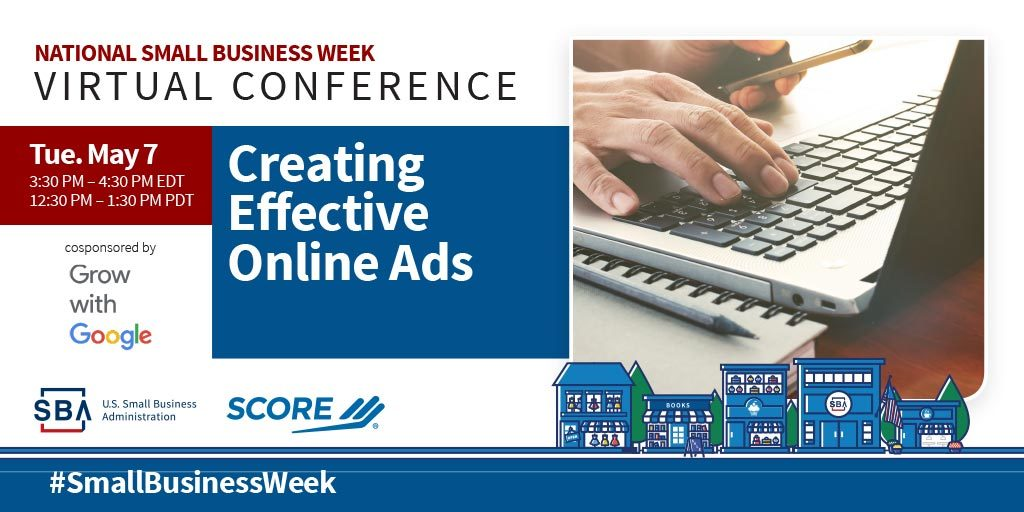 NSBW Virtual Conference webinar, Creating Effective Online Ads on May seventh at three-thirty pm eastern standard time