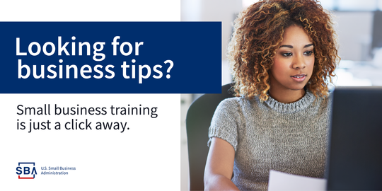 Graphic header: Looking for Business Tips? Small Business Training is Just a Click Away