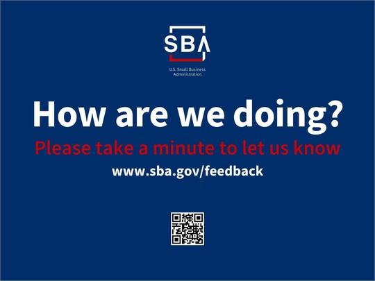 Image: Feedback postcard - How are we doing? www.sba.gov/feedback