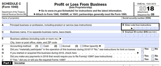 Clip from IRS Schedule C