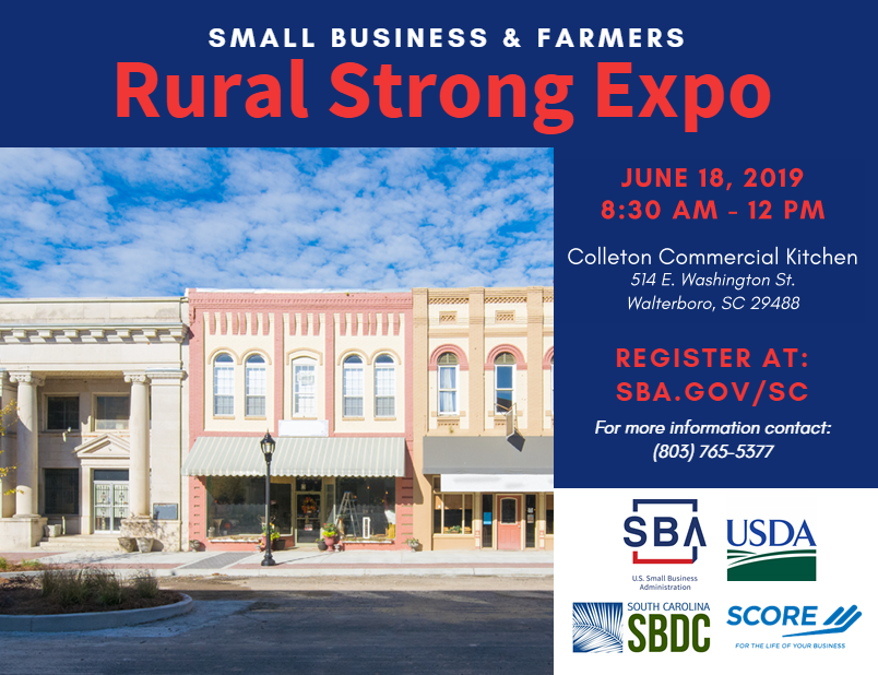 Rural Strong Business Resource Expo on June 18th at the Colleton County Kitchen in Walterboro, SC