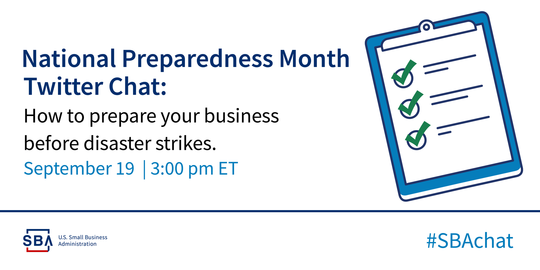 National Preparedness Twitter Chat on Sept 18th at 3p.m.