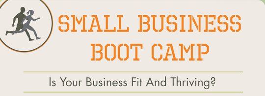 Graphic header for Small Business Boot Camp - Is Your Business Fit and Thriving?