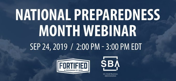 National Preparedness Month webinar on September twenty-fourth at two o'clock pm Eastern Daylight Time