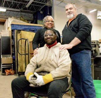 Barbara Smith, Owner of Journey Steel Manufacturing, stands with Steve Rogers, an apprentice in her mentorship program.