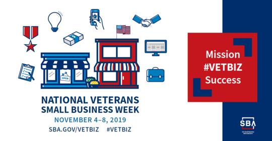 National Veterans Small Business Week November 4-8, 2019 sba.gov/vetbiz Mission #VetBiz Success SBA