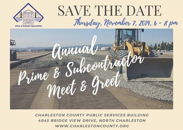 City of Charleston Annual Prime & Subcontractos Meet & Greet on Nov 7th from 6-8 p.m.