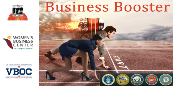 Graphic Header for Business Booster by National LBWA San Diego, San Diego and Imperial Women's Business Center, and the SOCAL VBOC