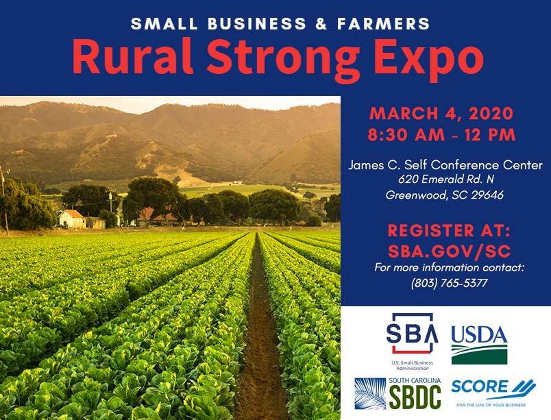 Rural Strong Business Expo on March 4th from 8:30 a.m. to 12 p.m. at the James C. Self Conference Center in Greenwood