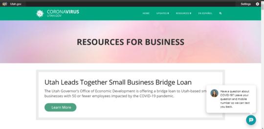 Utah Coronavirus Website Landing Page