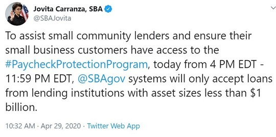 To assist small community lenders and ensure their small business customers have access to the #PaycheckProtectionProgram
