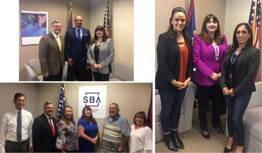 Collage of three group photos taken at the SBA San Diego District Office.