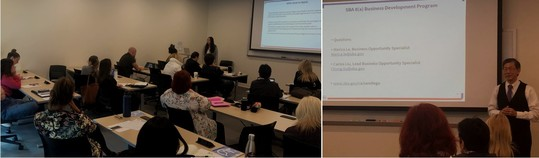 Photos from 8(a) BD Program workshop at the SOCAL PTAC: Merica Le and Carlos Liu presenting