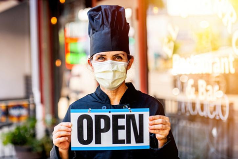 business owner wearing mask