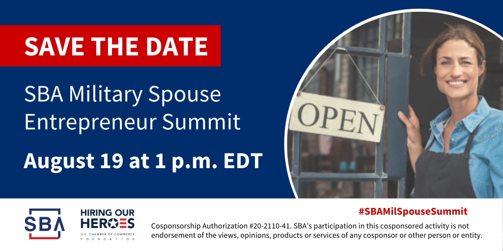SBA Military Spouse Summit Save the Date Graphic