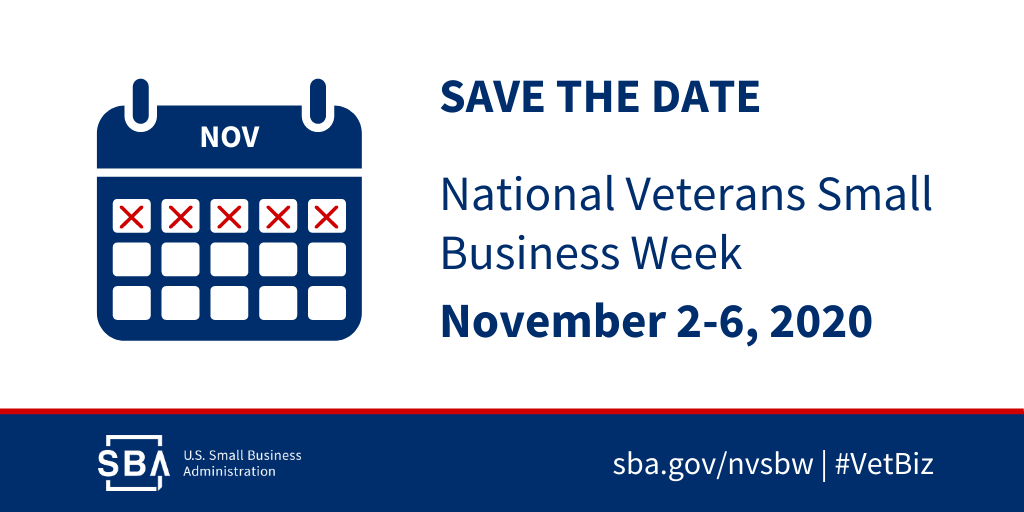 Save the date: National Small Business Veterans Week, November 2-6, 2020