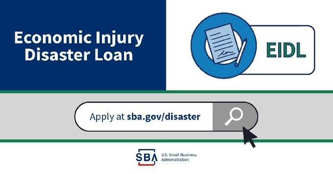 SBA COVID-19 Economic Injury Disaster Loan (EIIDL) apply graphic
